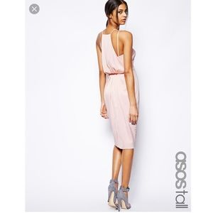 NWT ASOS tall midi dress with drape back pencil